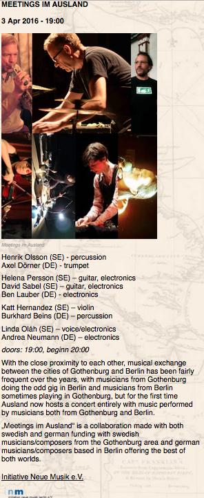 concert at ausland april 2016